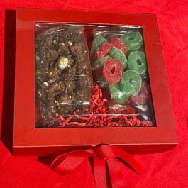 Red Gift Box with Popcorn and Candy